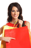 Beautiful woman with some shopping bags — Stock Photo