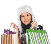 Young attractive girl in native scandinavian clothes makes shopping — Stock Photo