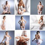 Colagem com um lingerie de noivas diferente — Foto Stock