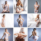 Collage with a different bridal lingerie — 图库照片