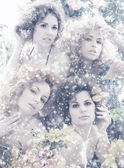Fashion shoot of young beautiful nymphs in the abstract winter forest — Stock Photo
