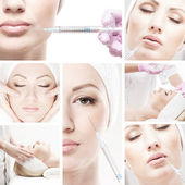 Collage made of some different pictures with the botox injections — Stock fotografie
