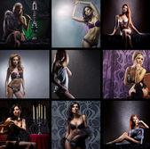 Collage de moda de muchos brotes de jóvenes atractivas mujeres en ropa interior — Foto de Stock