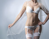 Young sexy bride in erotic lingerie — Стоковое фото