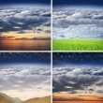 collage av några olika natursköna landskap — Stockfoto