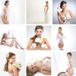 Women in a different bridal lingerie and dresses: collage — Zdjęcie stockowe #22320129