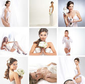 Women in a different bridal lingerie and dresses: collage — Stock Photo