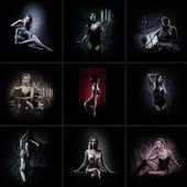 Kollage gjorda av många bilder med en vackra flickor i sexiga underkläder — Stockfoto