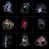 セクシーなランジェリーで美しい女の子と多くの写真のコラージュを作った — ストック写真