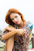 Portrait of young and beautiful redhead woman — Stock Photo