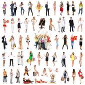 Grupo de muitos diferentes isolado no branco — Foto Stock