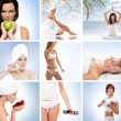 A collage of images with lovely women and health — Photo