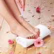 Woman shaving her legs — Stock Photo #23995631