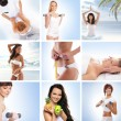 Stock Photo: A collage of images with lovely women and health