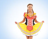 Young and beautiful bavarian girl isolated over white background — Stock Photo