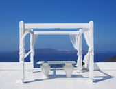 Beautiful wedding tent on Santorini island — Stock Photo