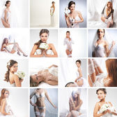 Women in a different bridal lingerie and dresses — Stock Photo