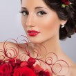 Stock Photo: Cabaret artist in red boa
