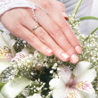 Fresh and beautiful wedding bouquet in bride's hands - Foto Stock