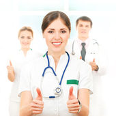 Team of young and smart medical workers — Стоковое фото
