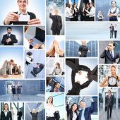 Collage avec beaucoup de différentes entreprises travaillant ensemble — Photo