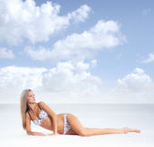 Young sexy woman in swimsuit isolated on white — Stock Photo