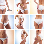 Sexy and beautiful body parts collage — Stock Photo