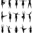 Set of different ballet poses. — Stock Photo