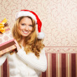 Beautiful teenager girl with the present — Foto Stock