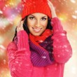 Portrait of young beautiful girl in winter style over Christmas  — Стоковая фотография