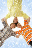 Three happy teenage boys hanging out together — Stock Photo