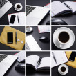 A business table collage with many different images — Stock Photo
