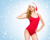 A young and sexy woman posing in erotic Christmas lingerie — Stock Photo