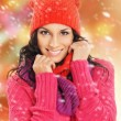 Portrait of young beautiful girl in winter style isolated on whi — Stock Photo #36882169