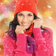 Portrait of young beautiful girl in winter style isolated on whi — Stock Photo