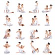 A collage of images with young woman on Thai massage — Stock Photo