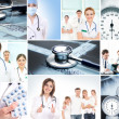 A collage of medical workers and tools — Stock Photo
