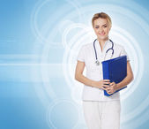 Young attractive medical worker isolated on white — Stock Photo