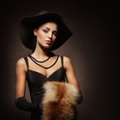 Fashion shoot of a young woman in retro style — Stok fotoğraf