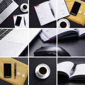 A collage of many different business images with items — Stock Photo