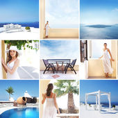 Tourist resort in Greece (Santorini island) — Stock Photo