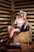 Young, happy and sexy cowgirl — Stock Photo
