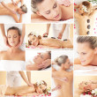Spa collage: different types of massage isolated on white background — Stock Photo