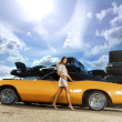 Texas style image with a sexy girl and classic american car — Stock Photo