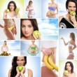 Healthy eating, sport, vegetarian food and beautiful body concept — Stock Photo