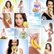 Healthy eating, sport, vegetarian food and beautiful body concept — Stock Photo #42521205