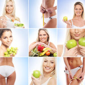 Vegetarian food, nutrition, fruits and healthy eating collage — Stock Photo