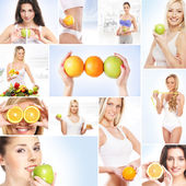 Collage about dieting, healthy eating, fitness, sport, nutrition and health care — Stock Photo