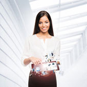 Young businesswoman with a tablet pc — Stock Photo