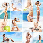 Picture collection of summer and resorts — Stock Photo